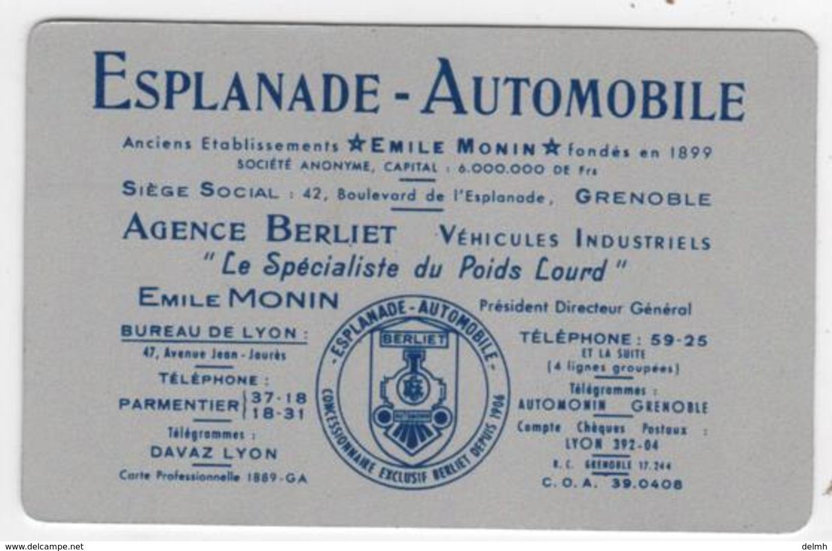 CALENDRIER 1951 Métal Esplanade Automobile Emile Monin Agence BERLIET Poids Lourd - Calendriers