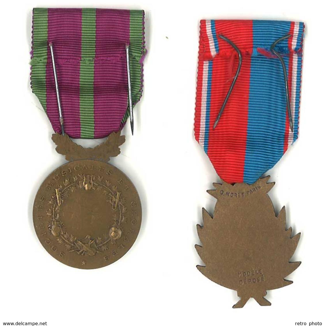 2 Médailles Métal Musique - Confédération Musicale De France & Sociétés Musicales Et Chorales - France