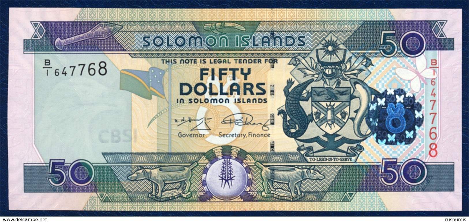 SOLOMON ISLANDS 50 DOLLARS P-29b LIZARD 2009 UNC - Salomons