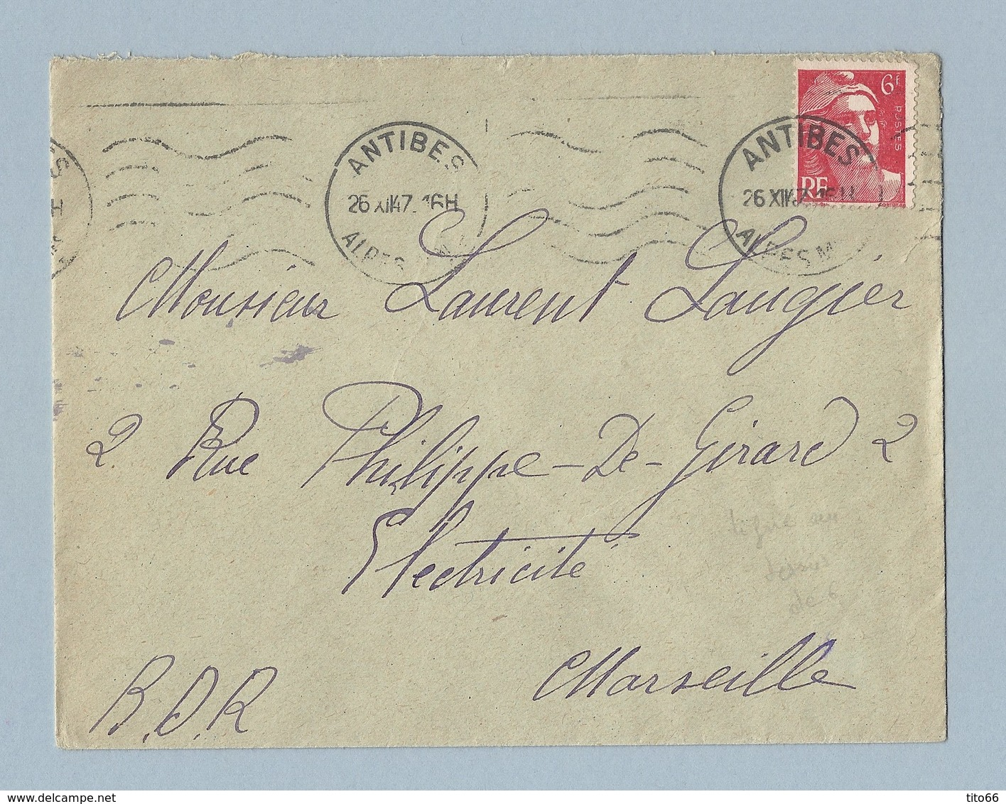 N° 721 Marianne De Gandon Seul Sur Enveloppe De Antibes Vers Marseille 26/12/47 Ligne Blanche Bord Sup Du Timbre A Voir - Marcophilie (Lettres)