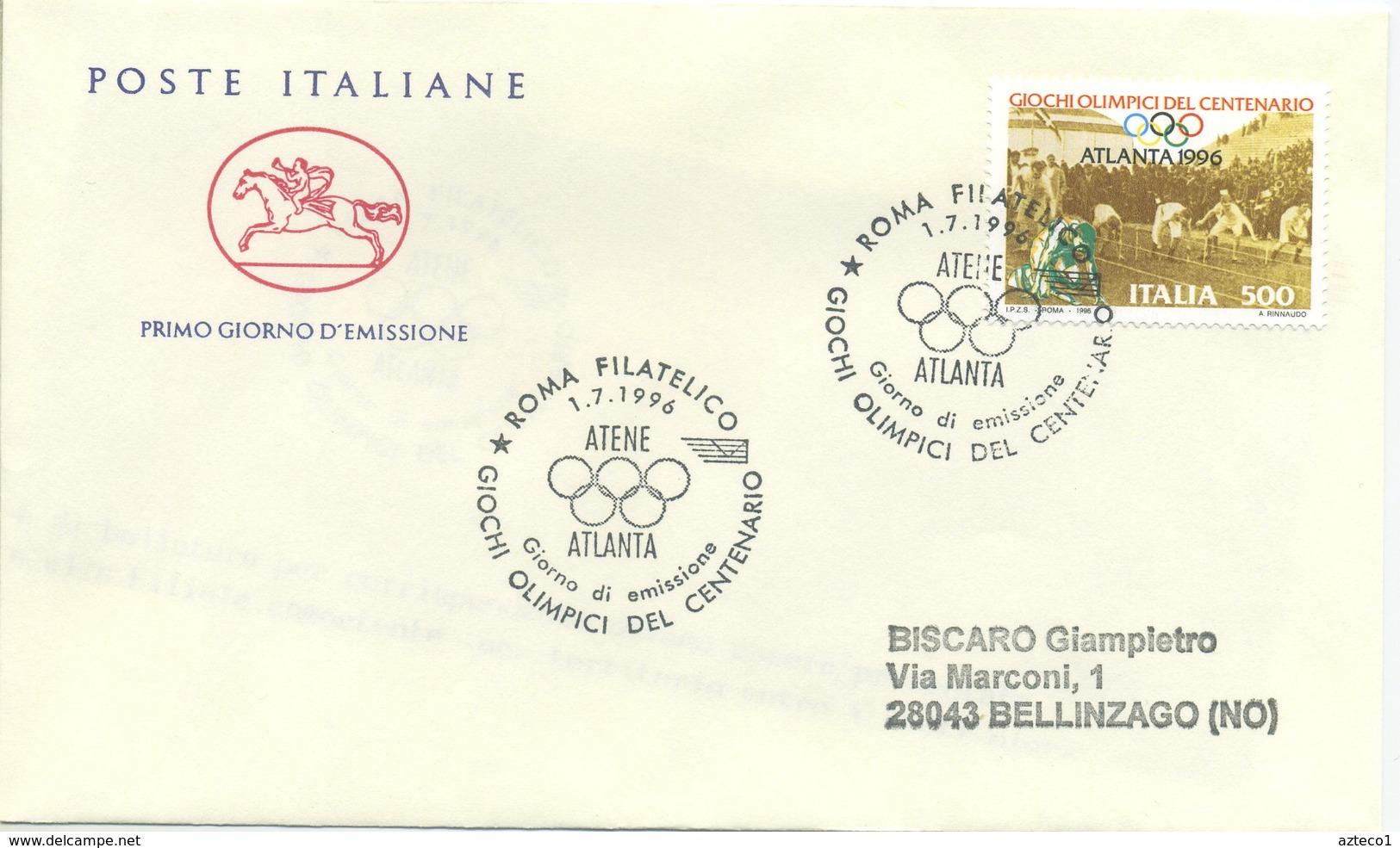 ITALIA - FDC  CAVALLINO 1996 -  OLIMPIADI DEL CENTENARIO - ANNULLO SPECIALE - 6. 1946-.. Repubblica