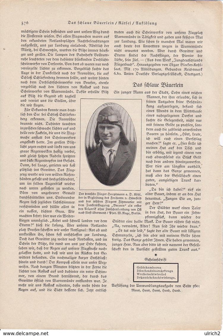 Flieger-Hauptmann A.D. Köhl - Abbildung Aus Der Gute Kamerad 1931 (37132) - Zeitungen & Zeitschriften
