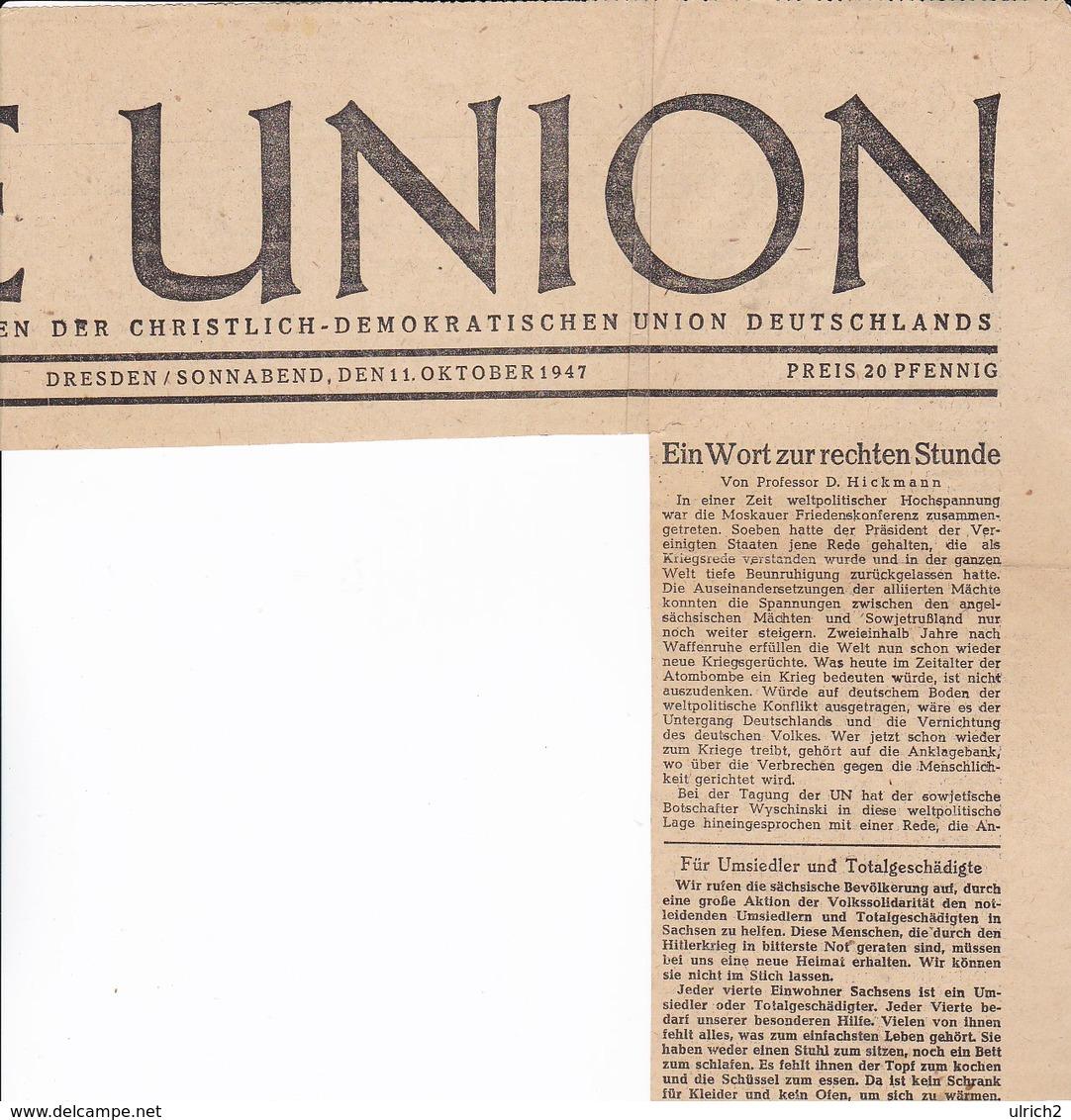 Arikel über Die Nationale Reichskirche Von A. Hitler - Die Union, Dresden 1947  (37143) - Zeitungen & Zeitschriften