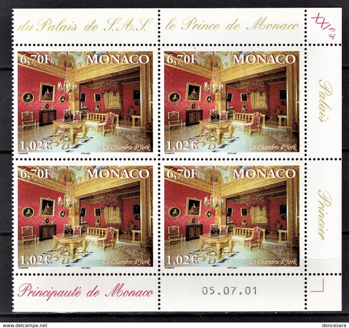 MONACO 2001 - BLOC DE 4 TP  N° 2312 - COIN DE FEUILLE / DATE / NEUFS** - Neufs