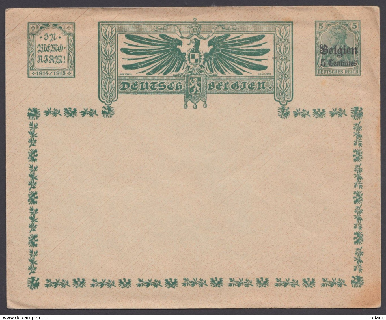 "Belgien : PU 2 D 2 ""Adler Mit Inschrift"", Gedenkumschlag, * - Besetzungen 1914-18"