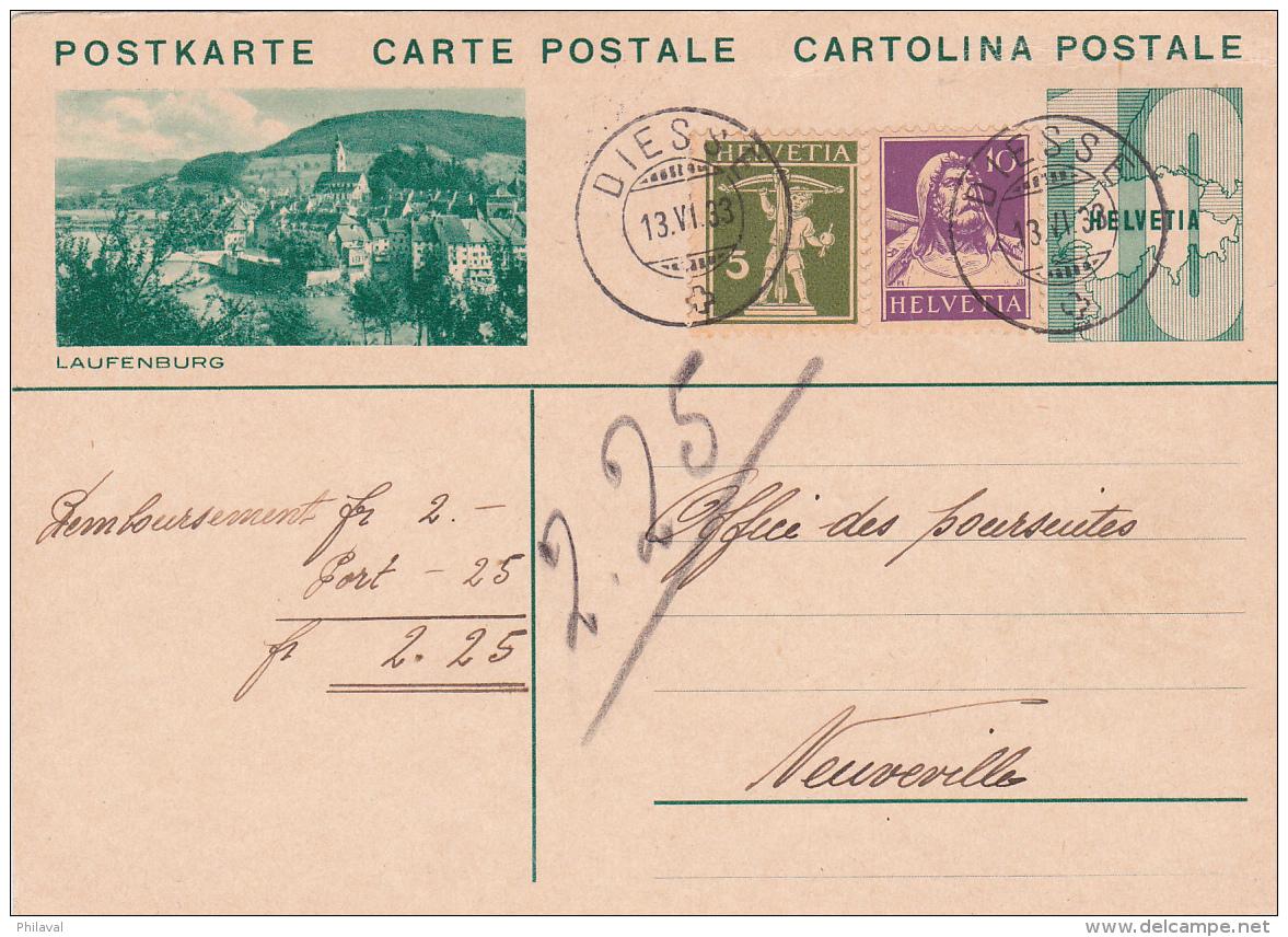 Entier Postal Avec Affranchissement Complémentaire Des Nos 183 & 184, Oblitéré DIESSE Le 13.VI.1933,pou NEUVEVILLE - Entiers Postaux