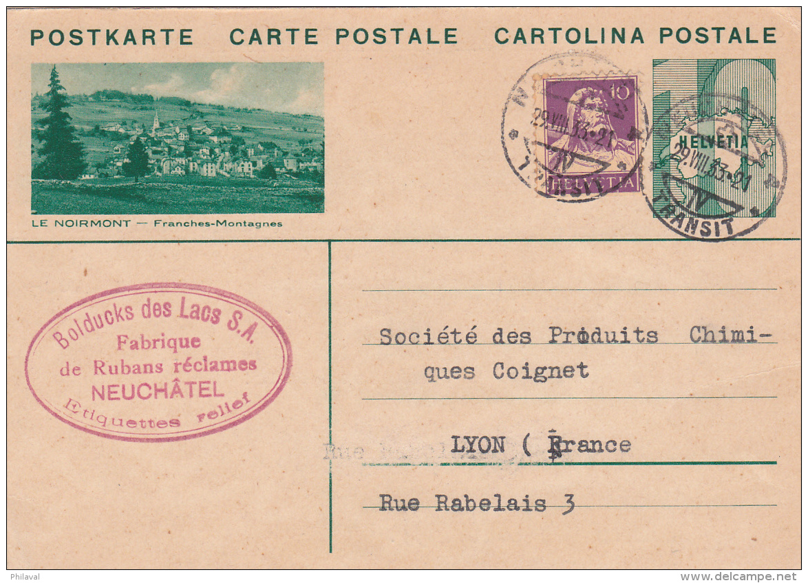 Entier Postal Avec Affr. Compl.de Bolducks Des Lacs S.A., Fabr. De Rubans Réclames, Neuchâtel-illustr. Le Noirmont - Entiers Postaux