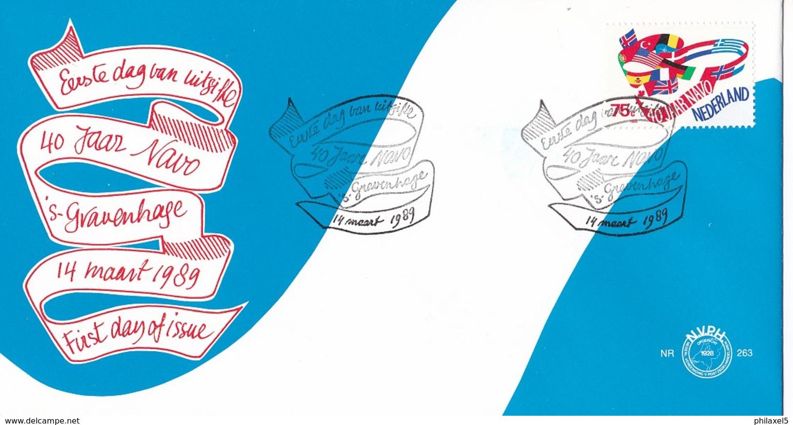 Nedrland - FDC - 40 Jaar N.A.V.O. - Vlaggen Van De NAVO-landen - NVPH E263 - Aardrijkskunde