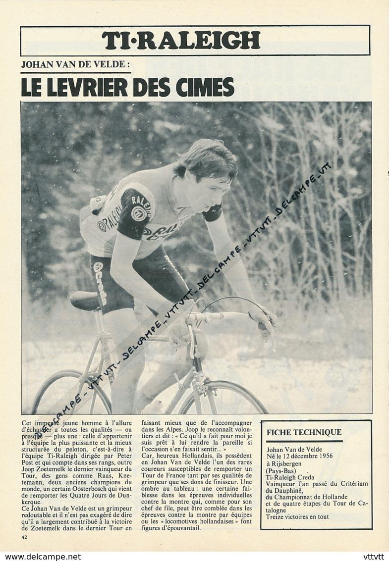 CYCLISME : PHOTO, TOUR DE FRANCE 1981, JOHAN VAN DE VELDE, EQUIPE TI-RALEIGH, RIJSBERGEN - Radsport