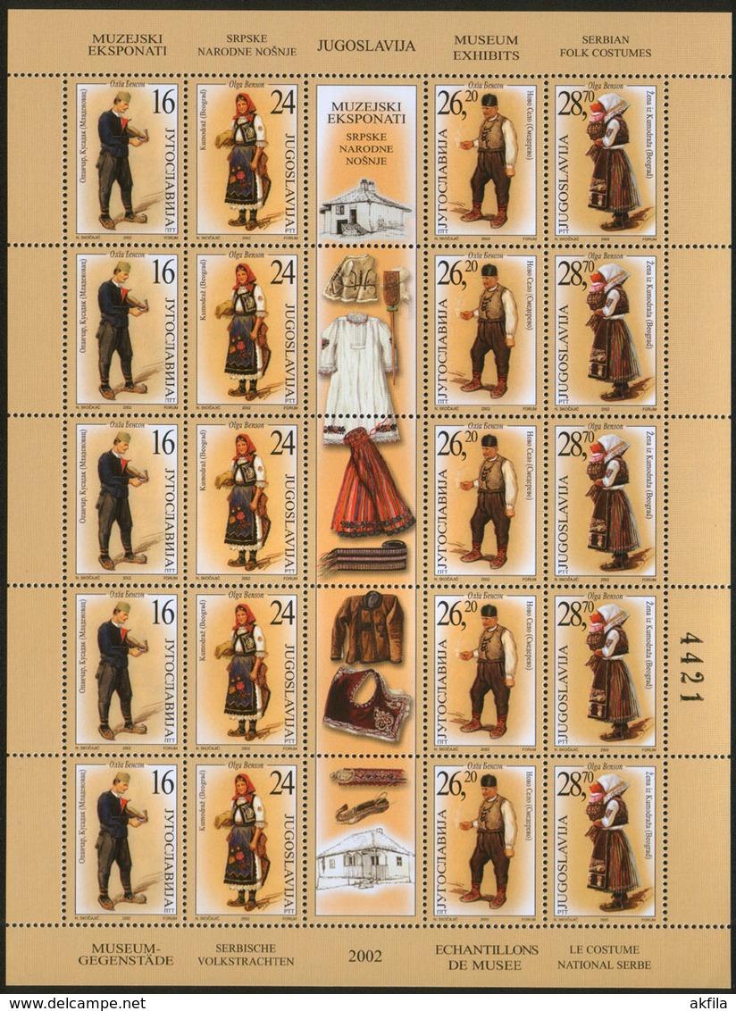 Yugoslavia 2002 National Costumes, Sheet Of 5 Sets, MNH (**) Michel 3093-3096 - Blocks & Kleinbögen