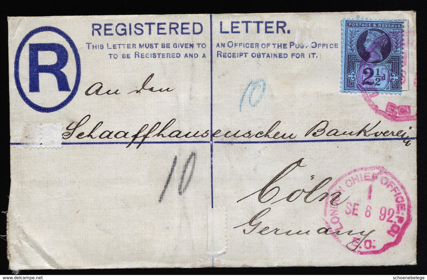 A5675) UK Grossbritannien R-Brief 1892 Roter Stempel London Chief Office - 1840-1901 (Viktoria)