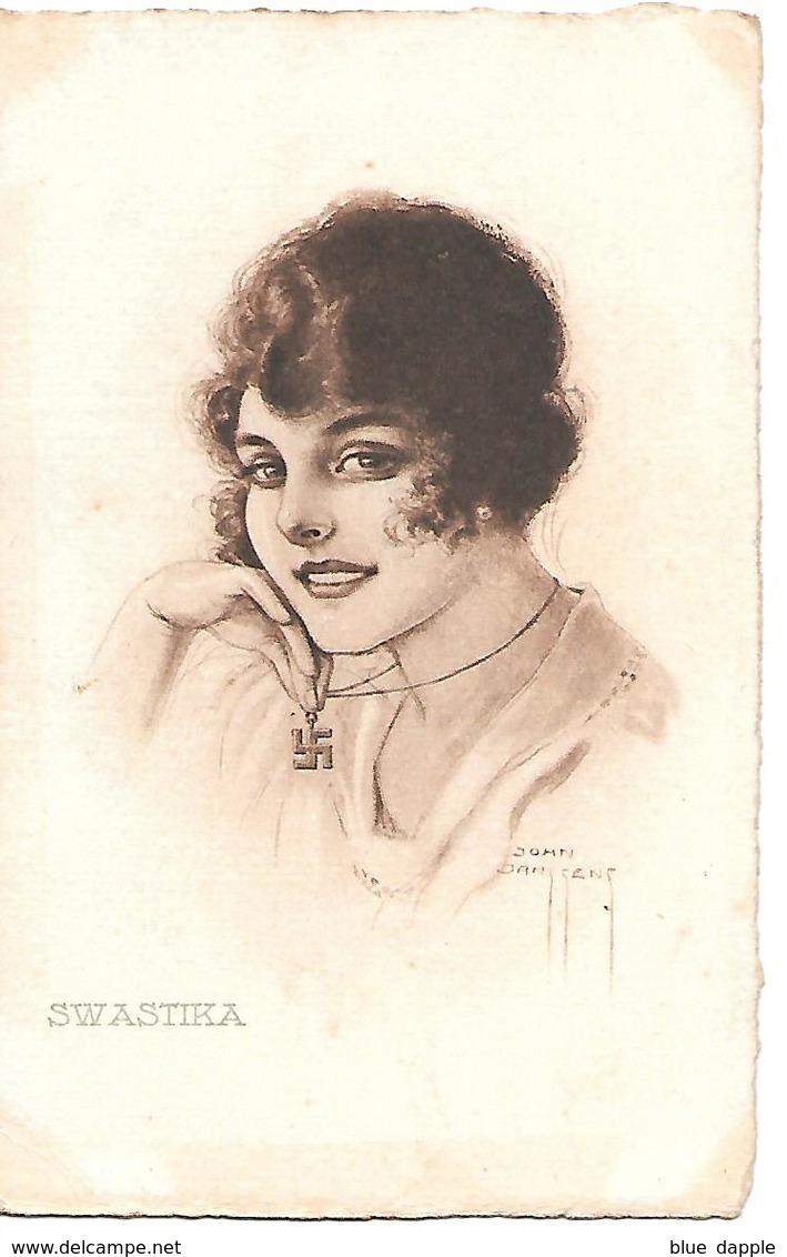 Woman With Necklace, Femme Avec Collier, Frau Mit Halskette, Swastika, Croix Gammée - By John Janssens / 1919 - Women