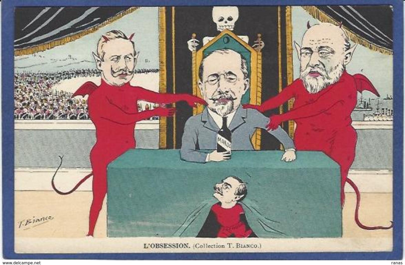 CPA BIANCO Politique Satirique Caricature Diable Devil Krampus Kaiser Angleterre - Illustrateurs & Photographes
