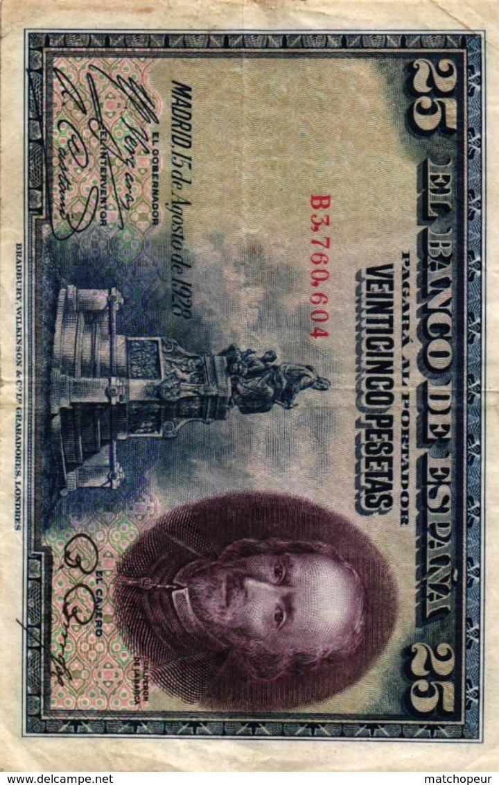 EL BANCO DE ESPANA - 25 PESETAS - 1928 - 1-2-5-25 Pesetas