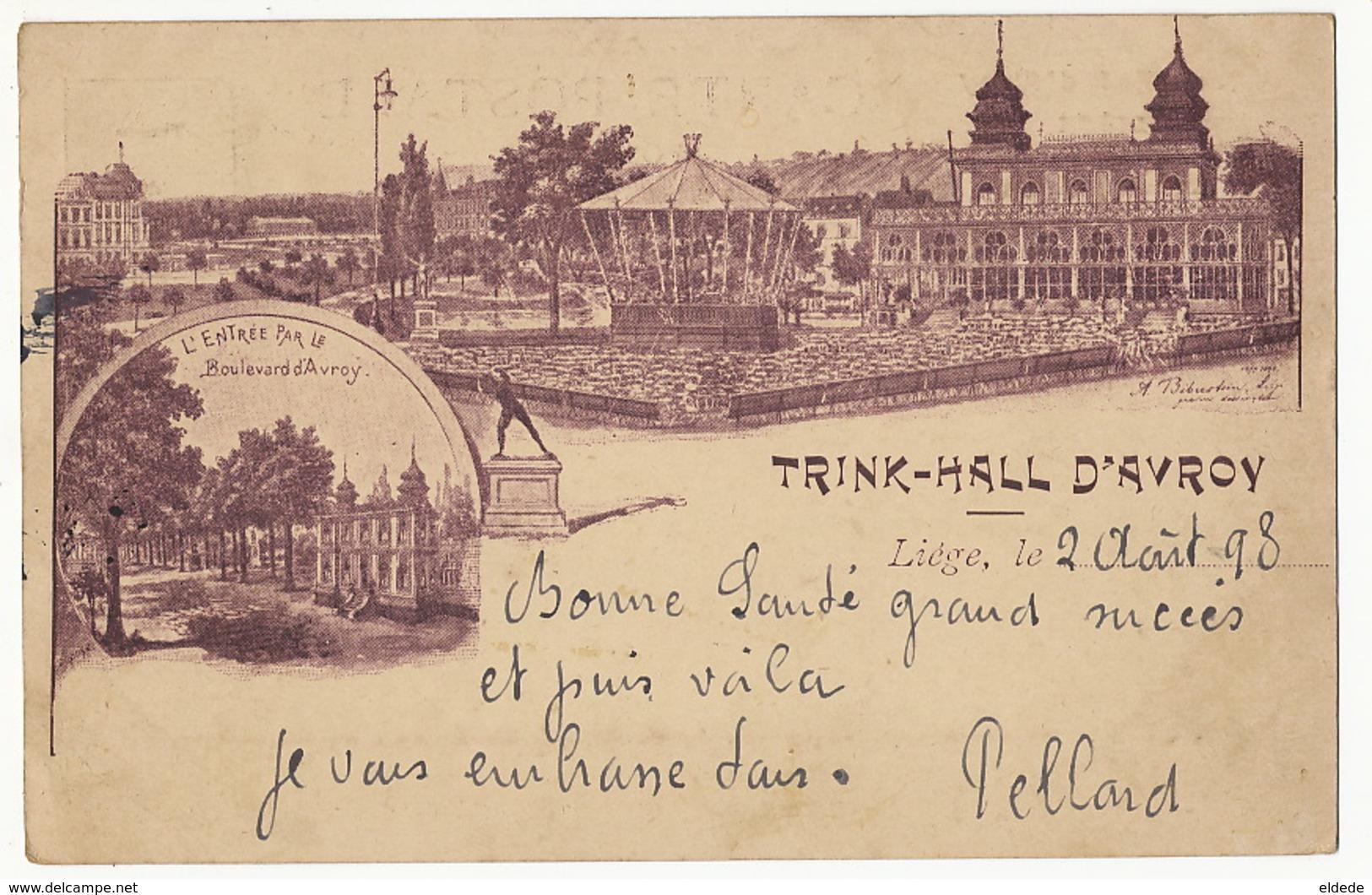 Trink Hall D' Avroy Louis Hanau Liege Precurseur Timbrée 1898 Dessin Signé Nom Comique Grattegidur - Liege