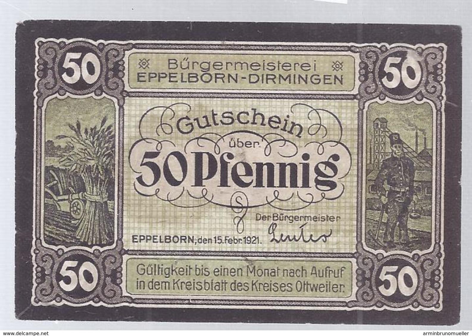 Eppelborn Dirmingen - 50 Pfennig - 1921  1970-  AK 11.817 - [ 8] Saarland
