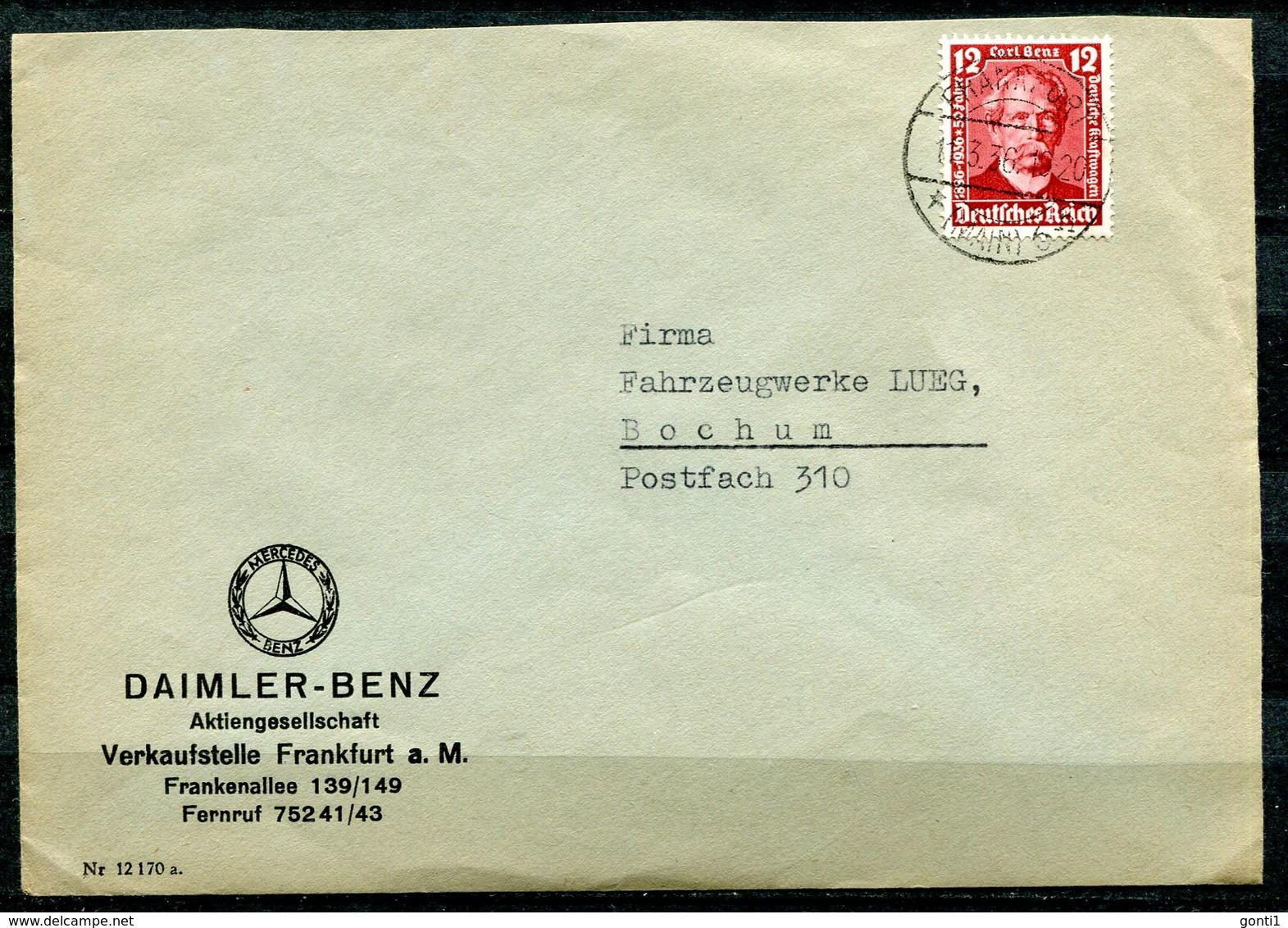 """German Empires 1936 Firmen Bedarfsbrief (Daimler Benz) Mit Mi.Nr.605 EF (Carl Benz) Mit Tstp.""""Frankfurt/Main """"1 Beleg - Voitures"""