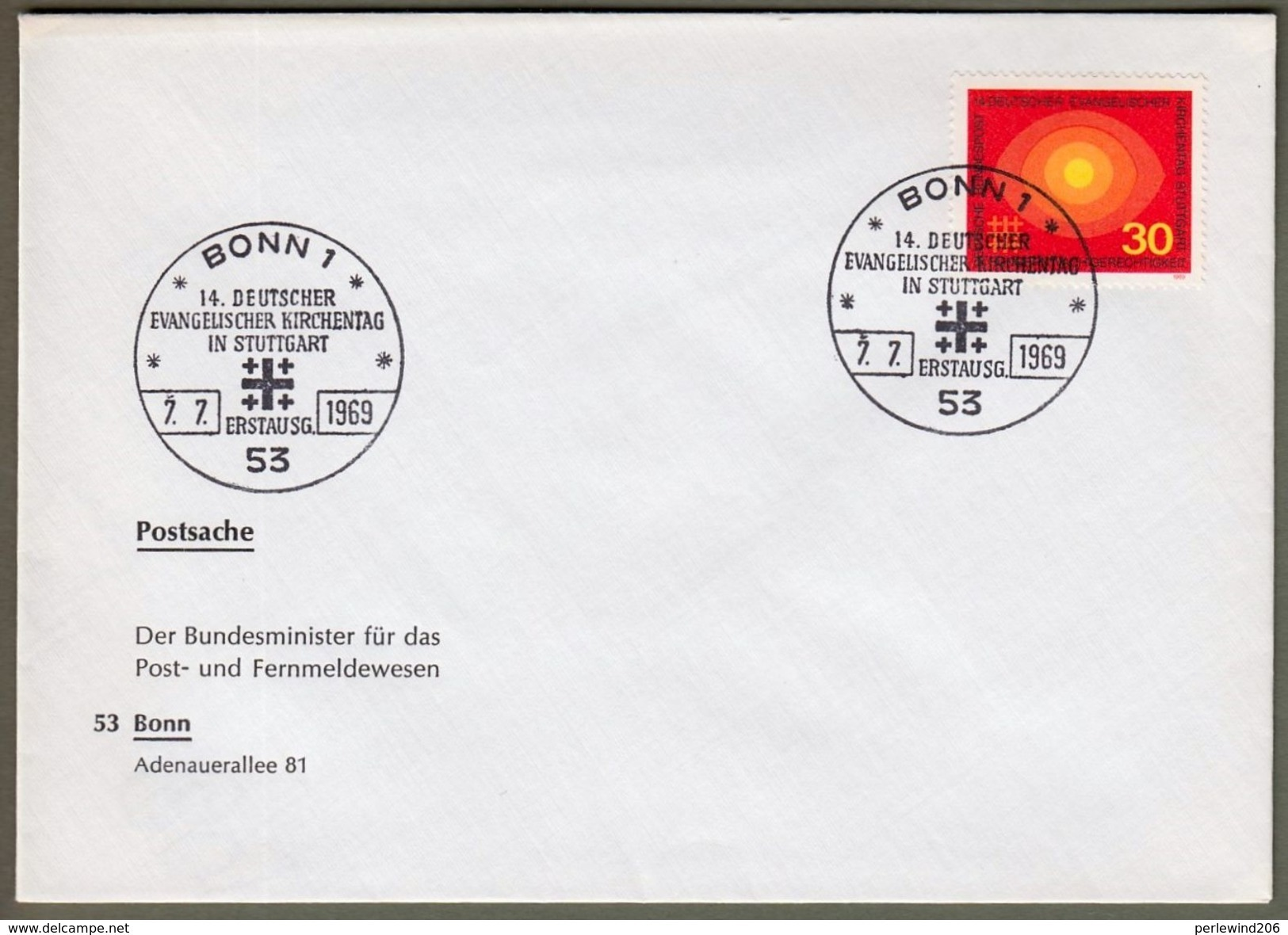 """Bund: Minister - FDC Dollinger, Mi-Nr. 595 ESST: """"  Evangelischer Kirchentag Stuttgart """" Auflage 20 Stück, Rarität !!  X - Covers & Documents"""