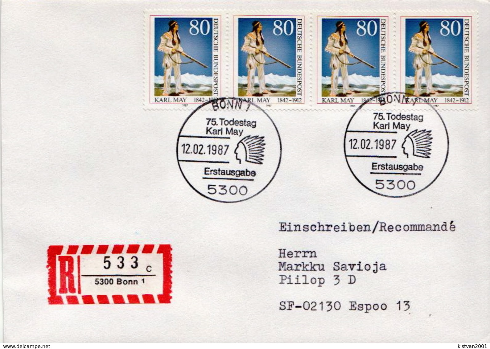 Postal History Cover: Germany Stamps On Registered Cover - American Indians
