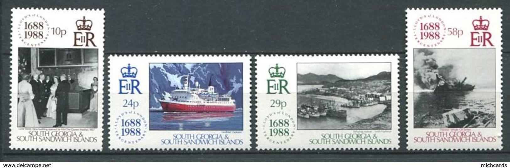 239 SUD GEORGIE 1988 - Yvert 188/91 - Lloyd Bateau - Neuf **(MNH) Sans Trace De Charniere - Géorgie Du Sud