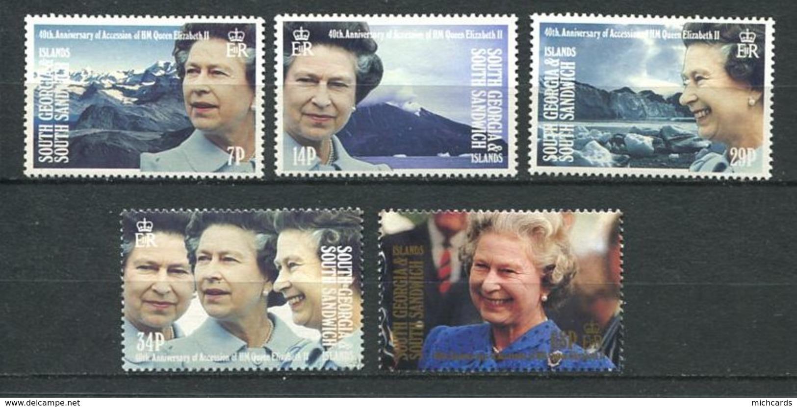 239 SUD GEORGIE 1992 - Yvert 214/18 - Reine Elizabeth Portrait - Neuf **(MNH) Sans Trace De Charniere - Géorgie Du Sud