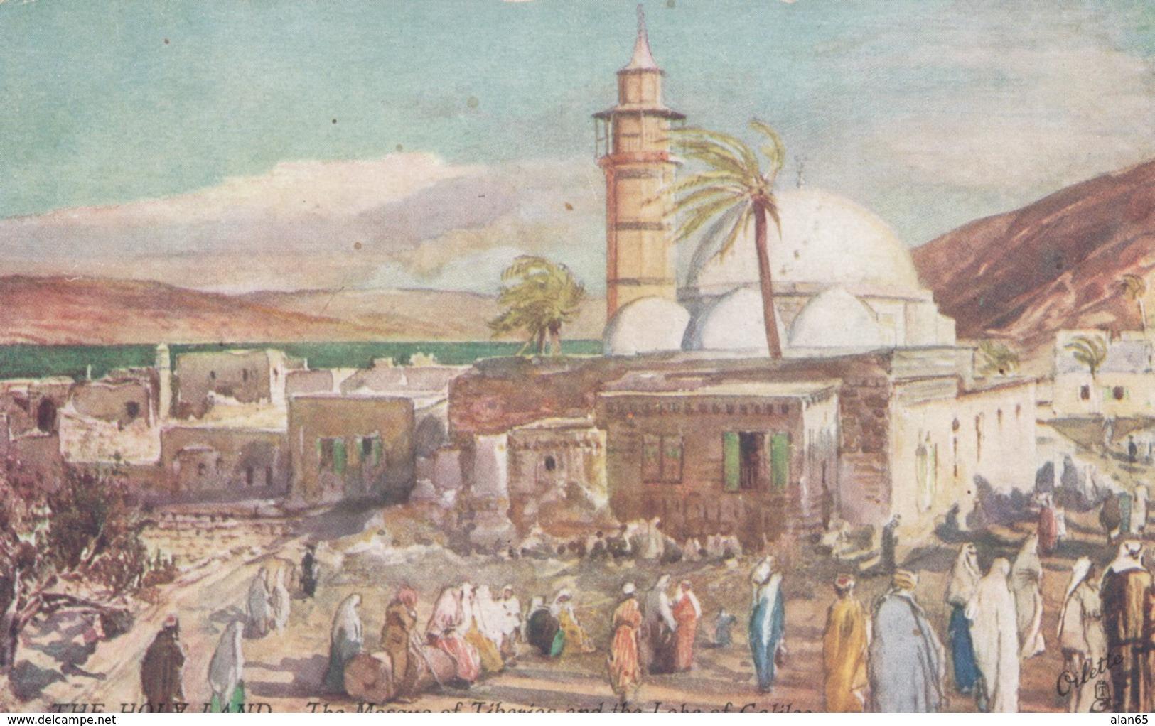 Tiberias Israel, The Mosque Of Tiberias And Lake Of Galilee, 1900s/10s Vintage Tuck Holy Land Series III #7310 Postcard - Israel