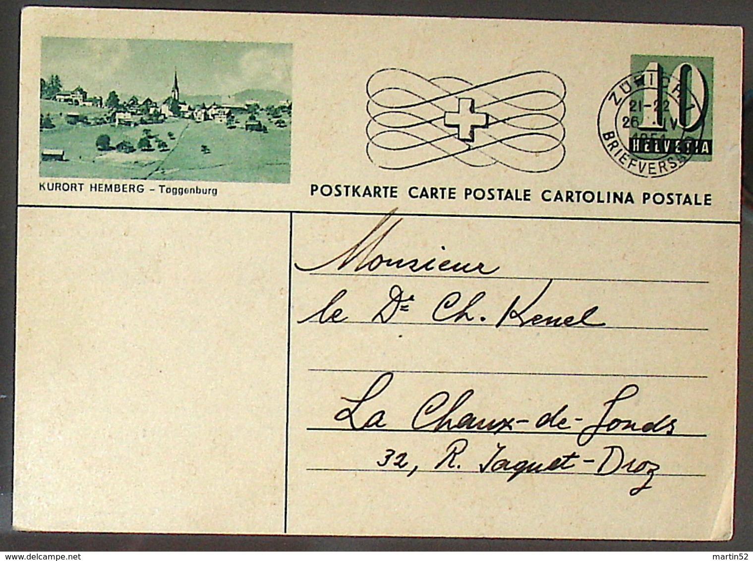 "Schweiz Suisse 1951: Bild-PK / CPI ""KURORT HEMBERG - Toggenburg"" Mit Stempel ZÜRICH 26.IV.1951 Nach La Chaux-de-Fonds - Interi Postali"