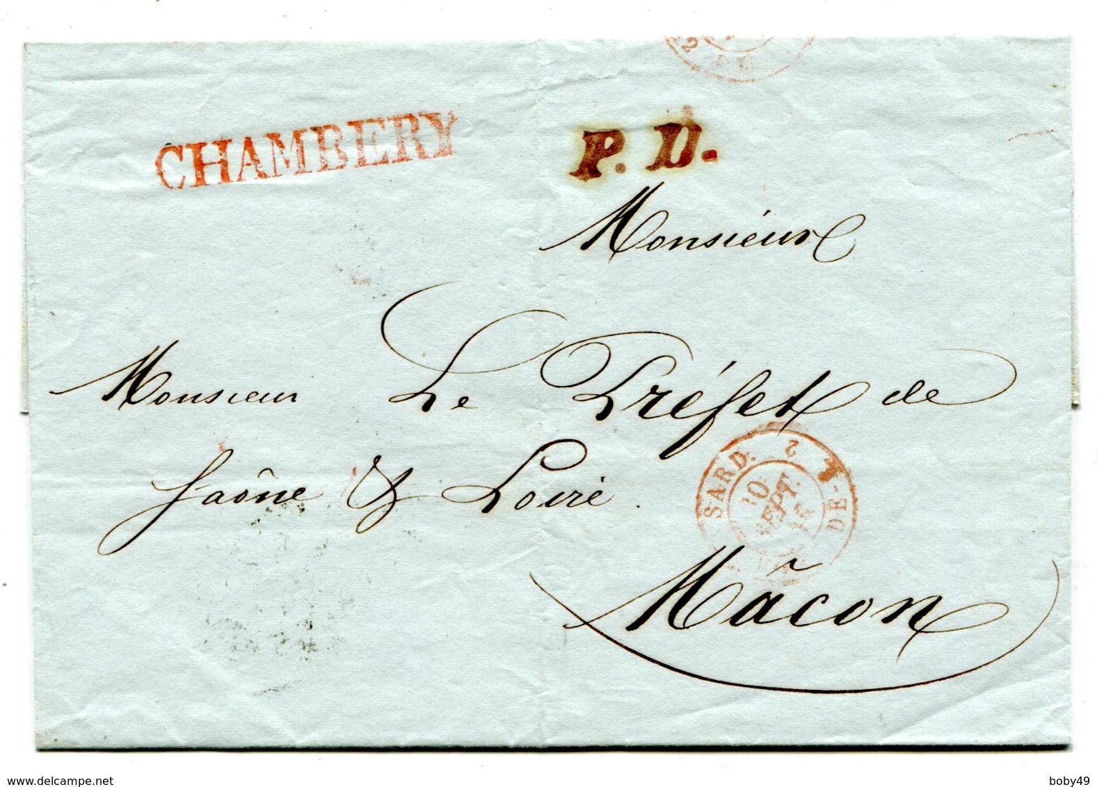 CHAMBERY LSC Du 10/09/1846 Cachet P.D. + Entrée SARD PONT DE B 2+ Verso Taxe De 12 (8+ 4 De Remise) - Storia Postale