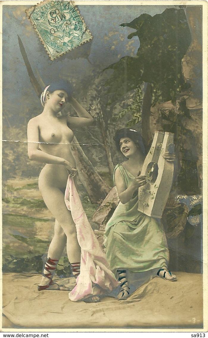 Femme Nue  Et Musicienne - Nus Adultes (< 1960)