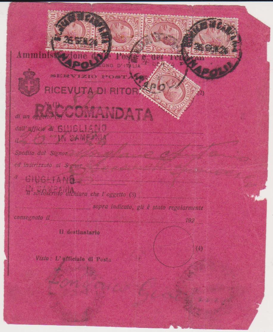 REGNO STORIA POSTALE 1924 RICEVUTA DI RITORNO RACCOMANDATA CON 5 VALORI DA 10 CENT. TIPO LEONI GIUGLIANO IN CAMPANIA - 1900-44 Vittorio Emanuele III