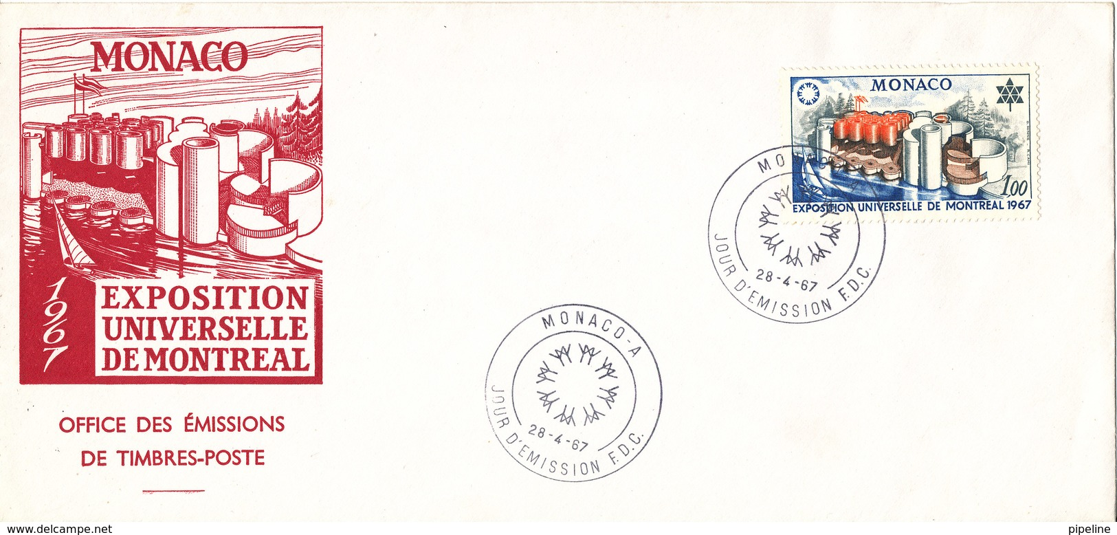 Monaco FDC 28-4-1967 EXPO 67 Montreal With Cachet - FDC