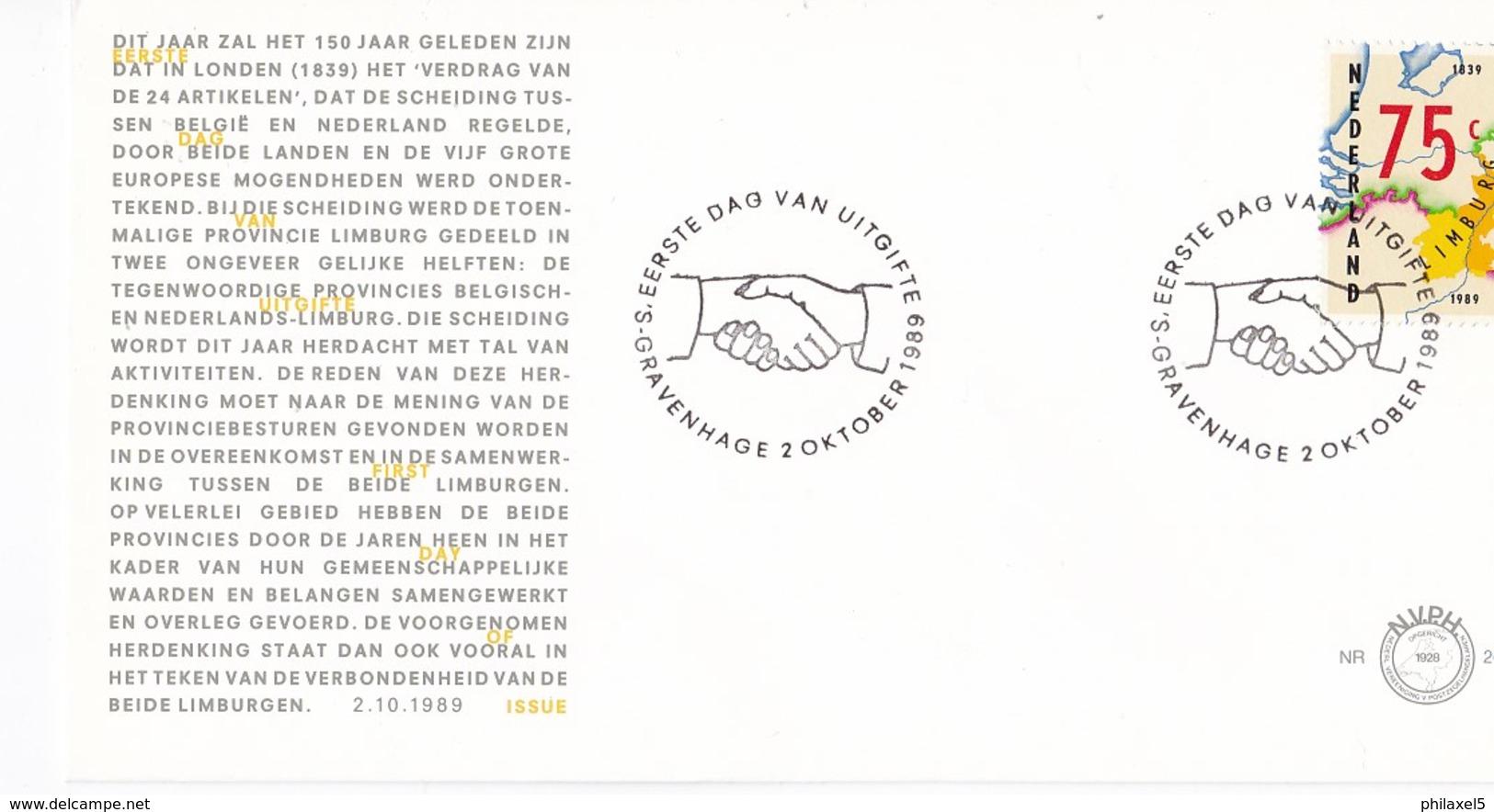 Nederland - FDC - 150 Jaar Verdrag Van Londen 1839-1989 - België/Nederland/provincie Limburg - NVPH E268 - Aardrijkskunde