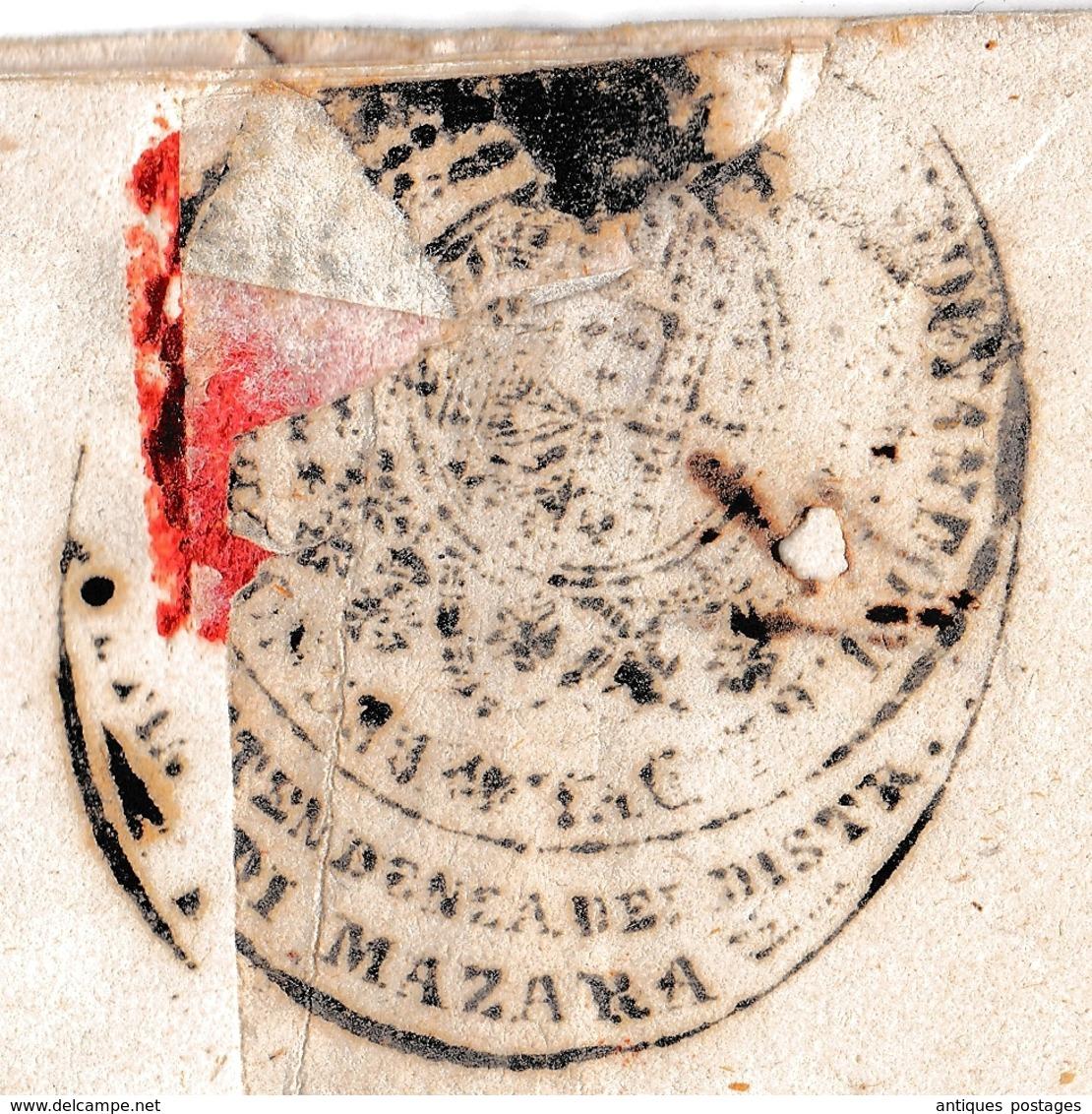 Lettre Sottitendenza Del Distretto Mazara Del Vallo 1853 Sicile Napoli Sicilia Trapani Santa Ninfa Italia  Real Servizio - Sicilië
