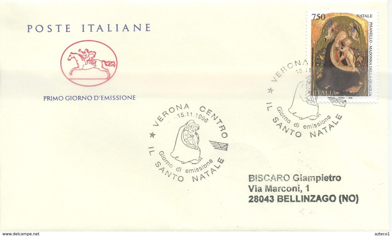 ITALIA - FDC CAVALLINO 1996 -  NATALE - ARTE  - PISANELLO - ANNULLO SPECIALE VERONA - 6. 1946-.. Repubblica