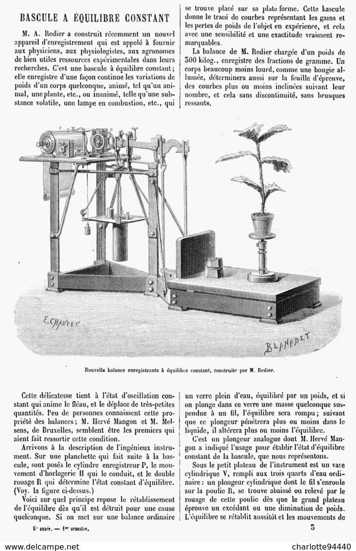BASCULE  A EQUILIBRE CONSTANT  1878 - Technical