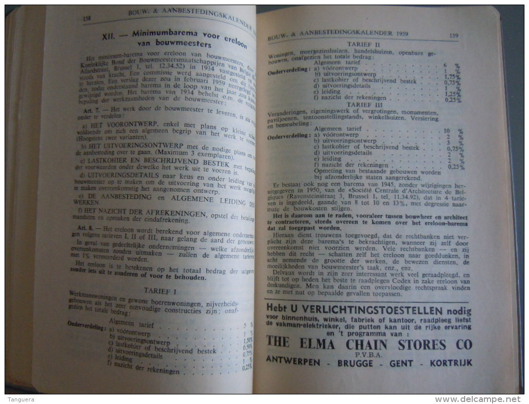 Vlaamse Bouw-en Aanbestedingskalender 1959 Uitgave De Bouwkroniek Brussel Agenda Du Batiment Et Des Adjudications - Vita Quotidiana