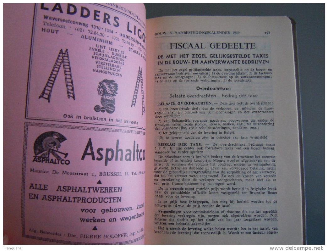 Vlaamse Bouw-en Aanbestedingskalender 1959 Uitgave De Bouwkroniek Brussel Agenda Du Batiment Et Des Adjudications - Pratique