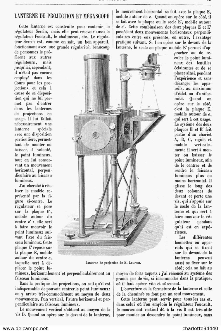 LANTERNE De PROJECTION Et MEGASCOPE De M . LAURENT  1878 - Technical
