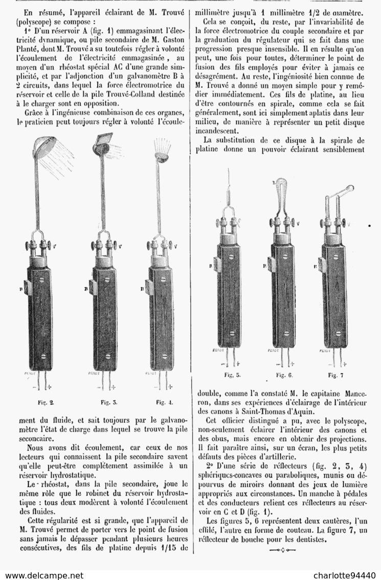 LE POLYSCOPE De M. TROUVé  1878 - Techniek