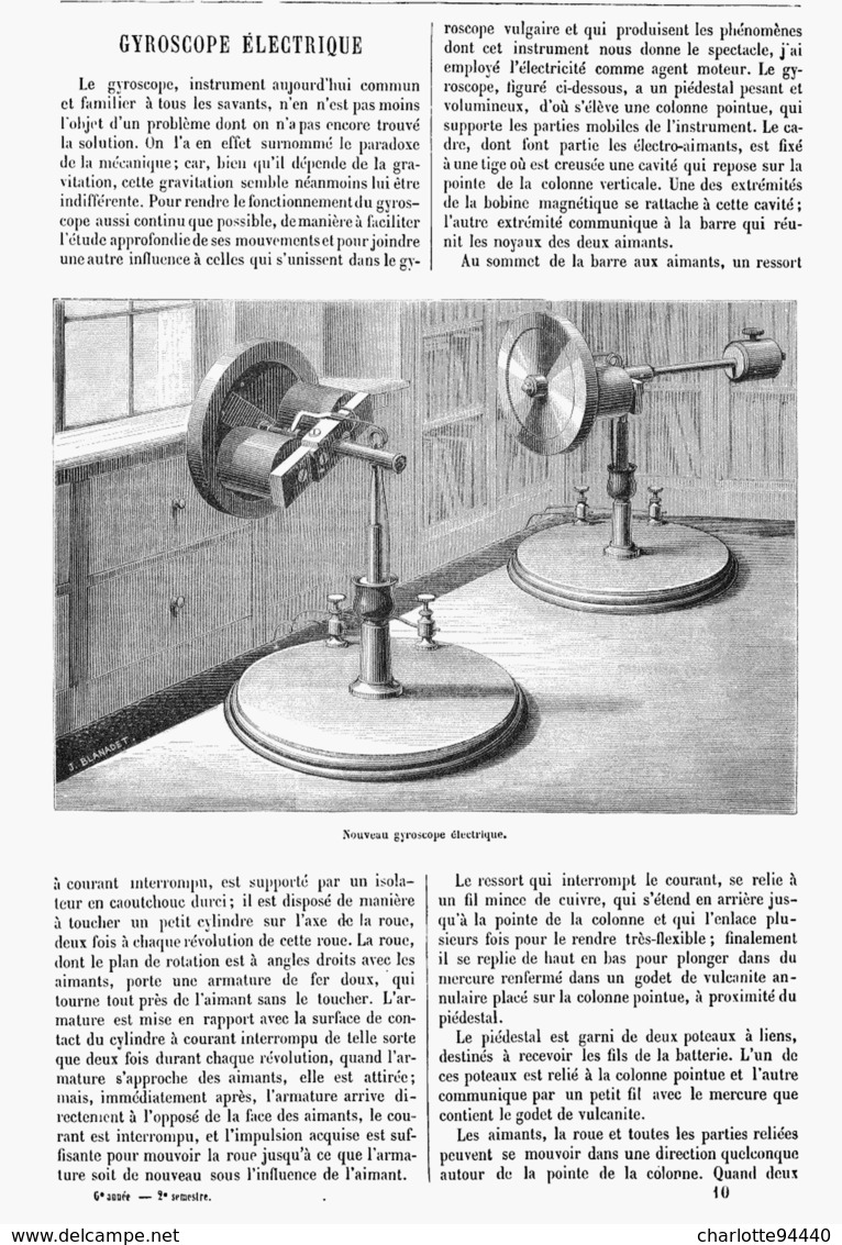GYROSCOPE ELECTRIQUE   1878 - Other