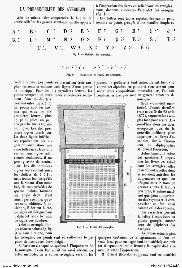 LA PRESSE-RELIEF DES AVEUGLES  1878 - Techniek