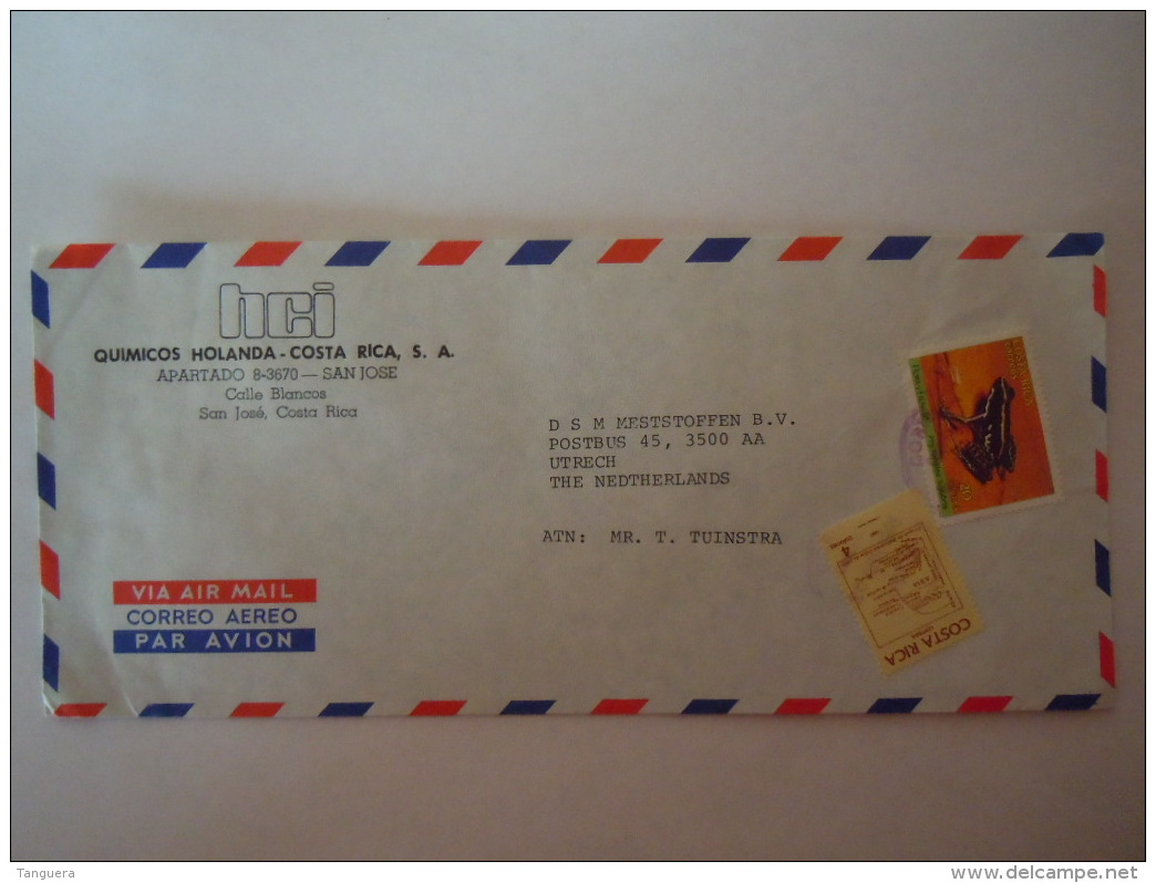Costa Rica 1988 Lettre Cover To Utrecht Netherlands  Frog Grenouille Yv 477 - Costa Rica