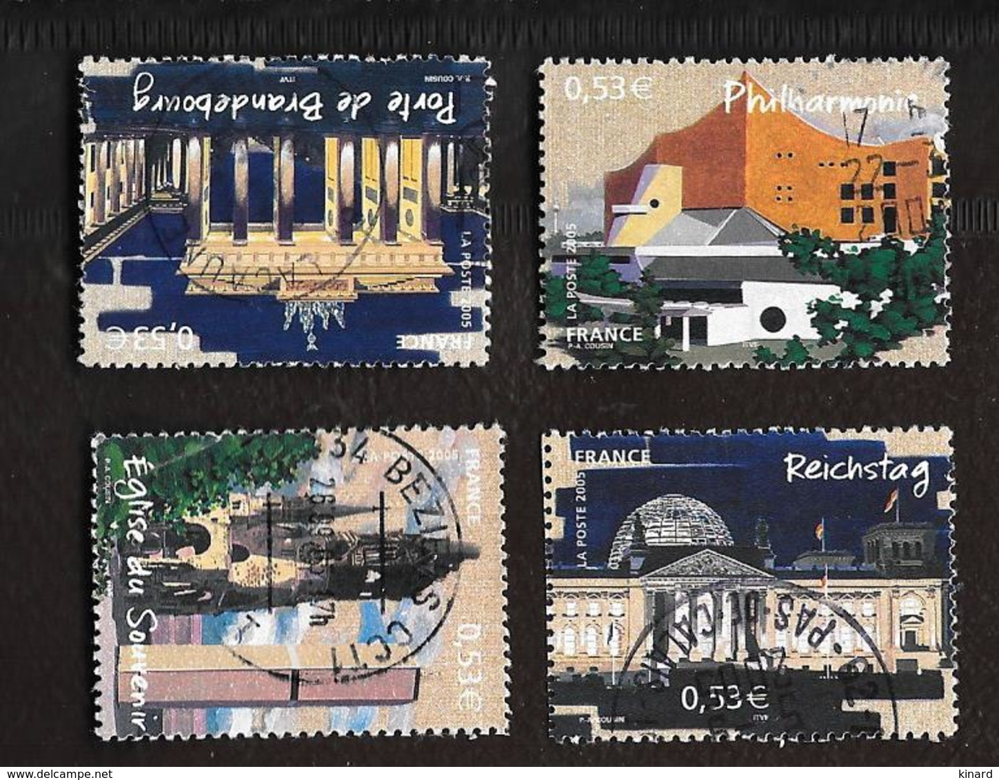 TIMBRES .CAPITALE EUROPEENNE.BERLIN N°3810/3813...2005.. OBLITERATION RONDE..TBE..SCAN - France