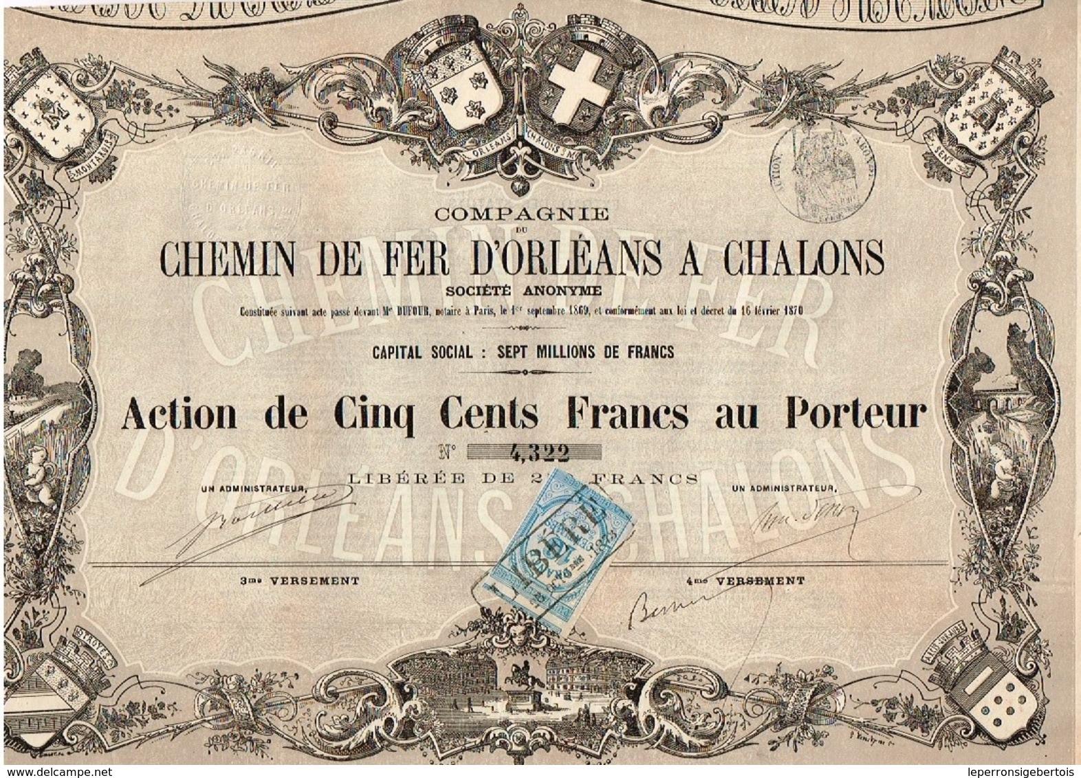 Action Ancienne - Compagnie Des Chemins De Fer D'Orléans à Chalons - Titre De 1870 - VF - Chemin De Fer & Tramway