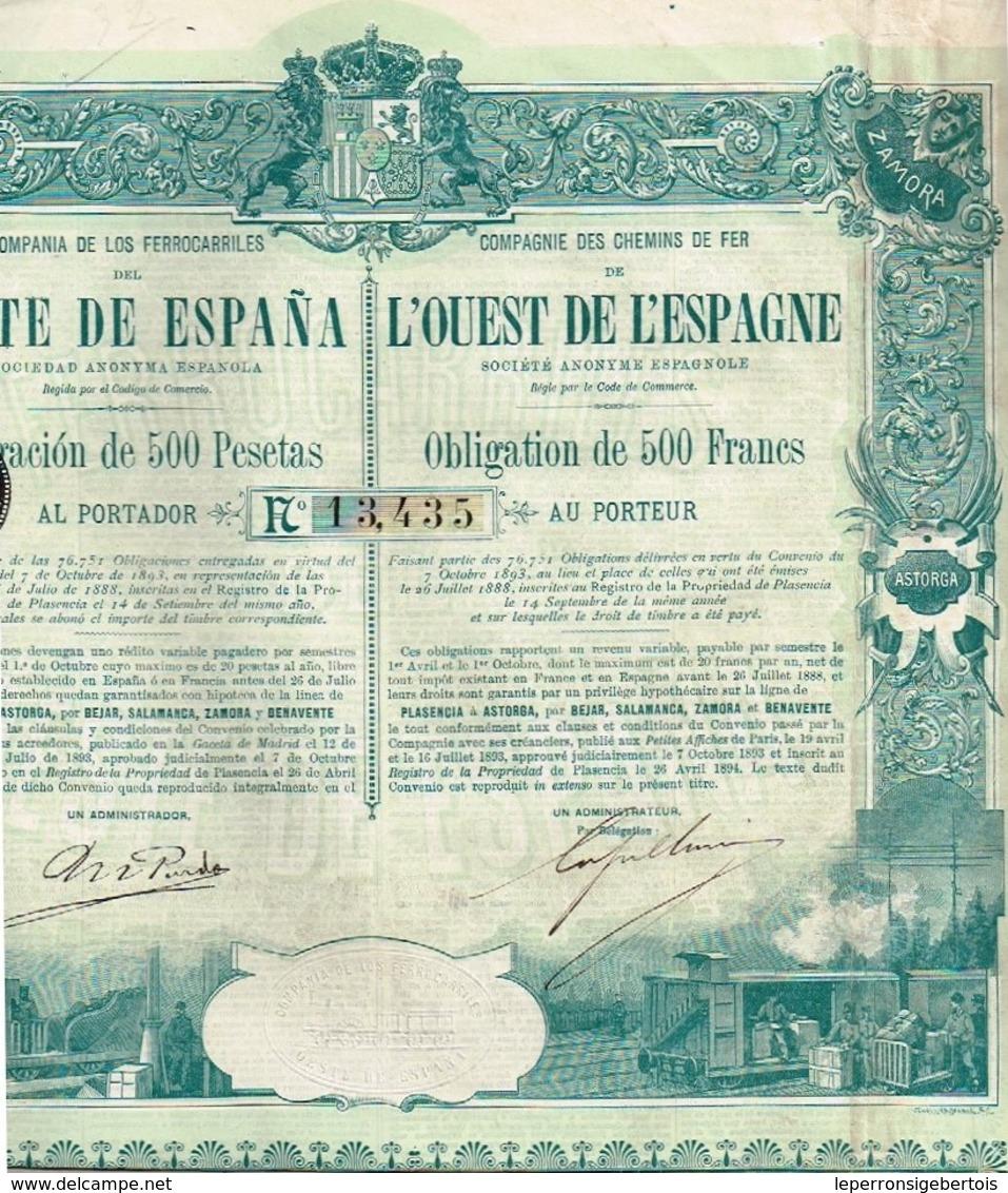Obligation Ancienne - Compagnie Des Chemins De Fer De L'Ouest De L'Espagne - Titre De 1894 - VF- - Chemin De Fer & Tramway