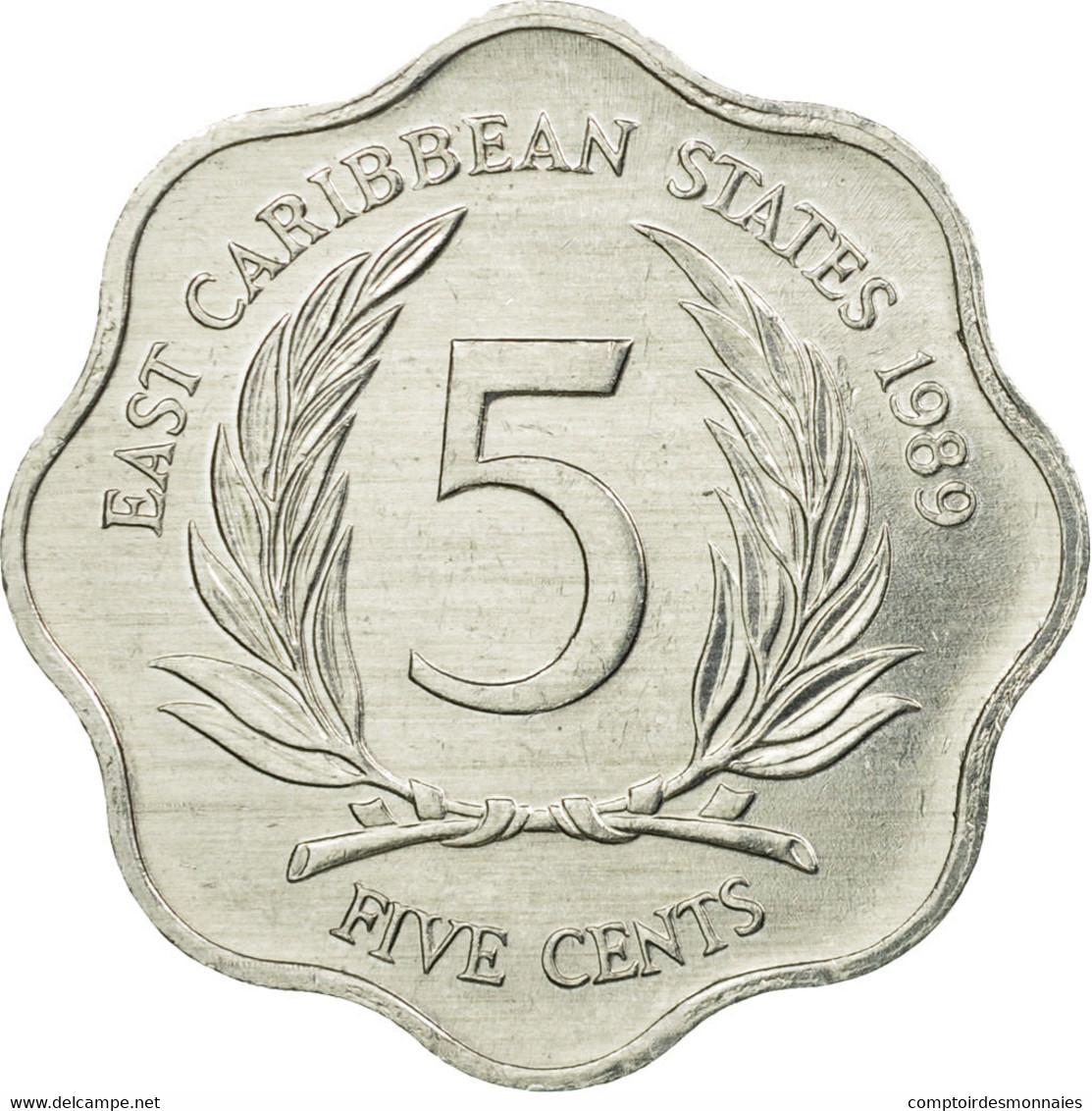 Monnaie, Etats Des Caraibes Orientales, Elizabeth II, 5 Cents, 1989, TTB - Caraïbes Orientales (Etats Des)