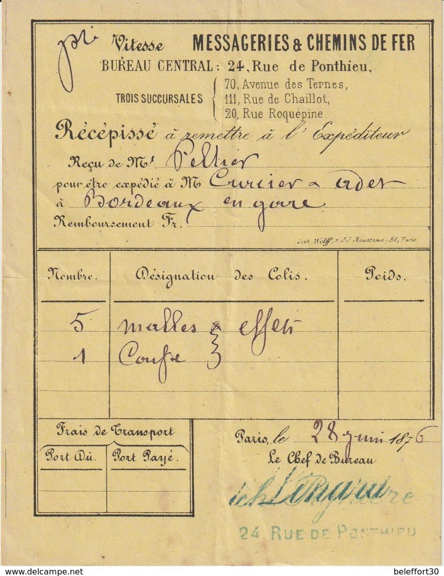 Messageries Et Chemin De Fer, Paris, Rue De Ponthieu -> Récépissé -> Bordeaux 1876 - Transports