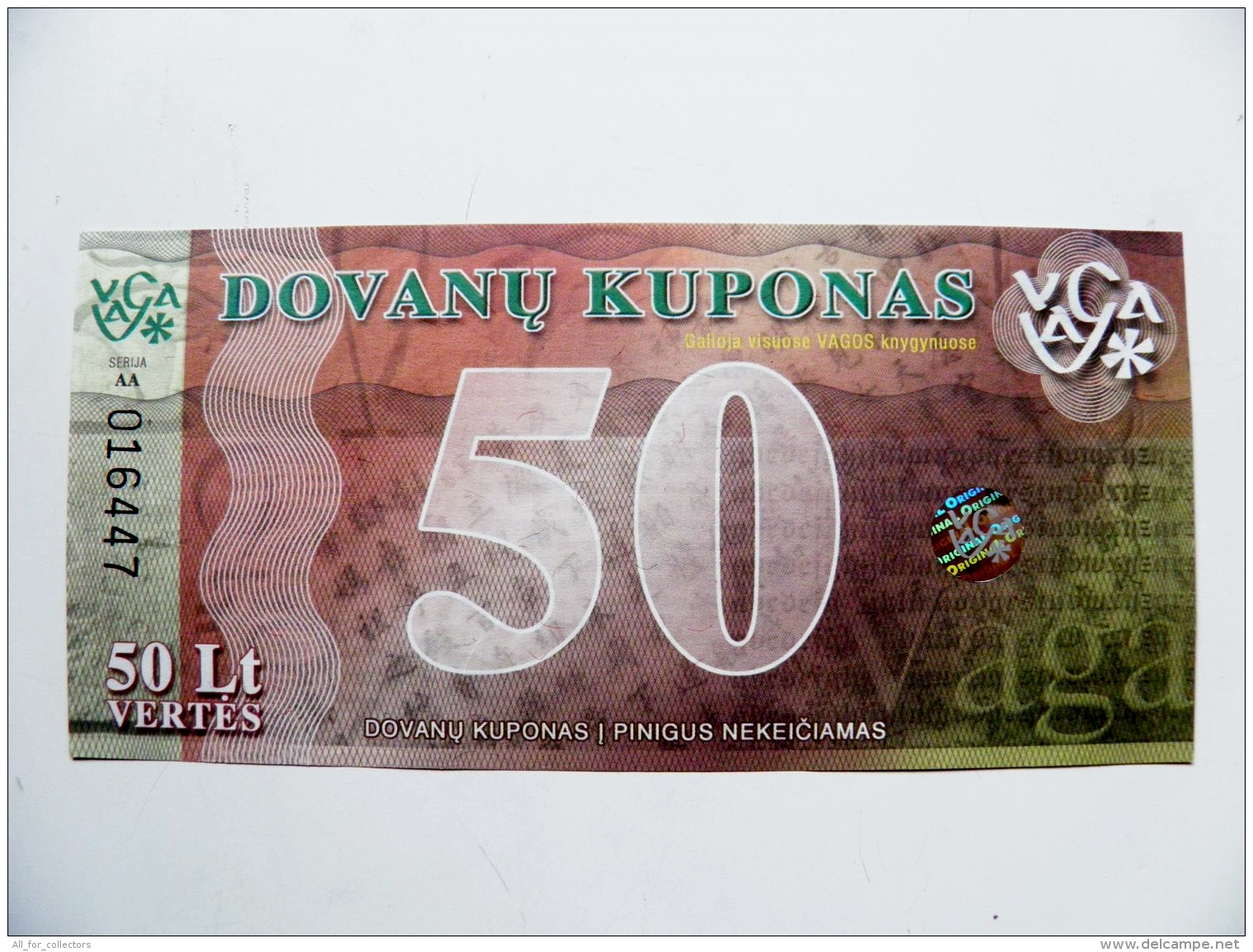 Uns Banknote From Lithuania 2008 50 Lt. Gift Voucher At The Bookstore Hologram Vaga - Lituanie