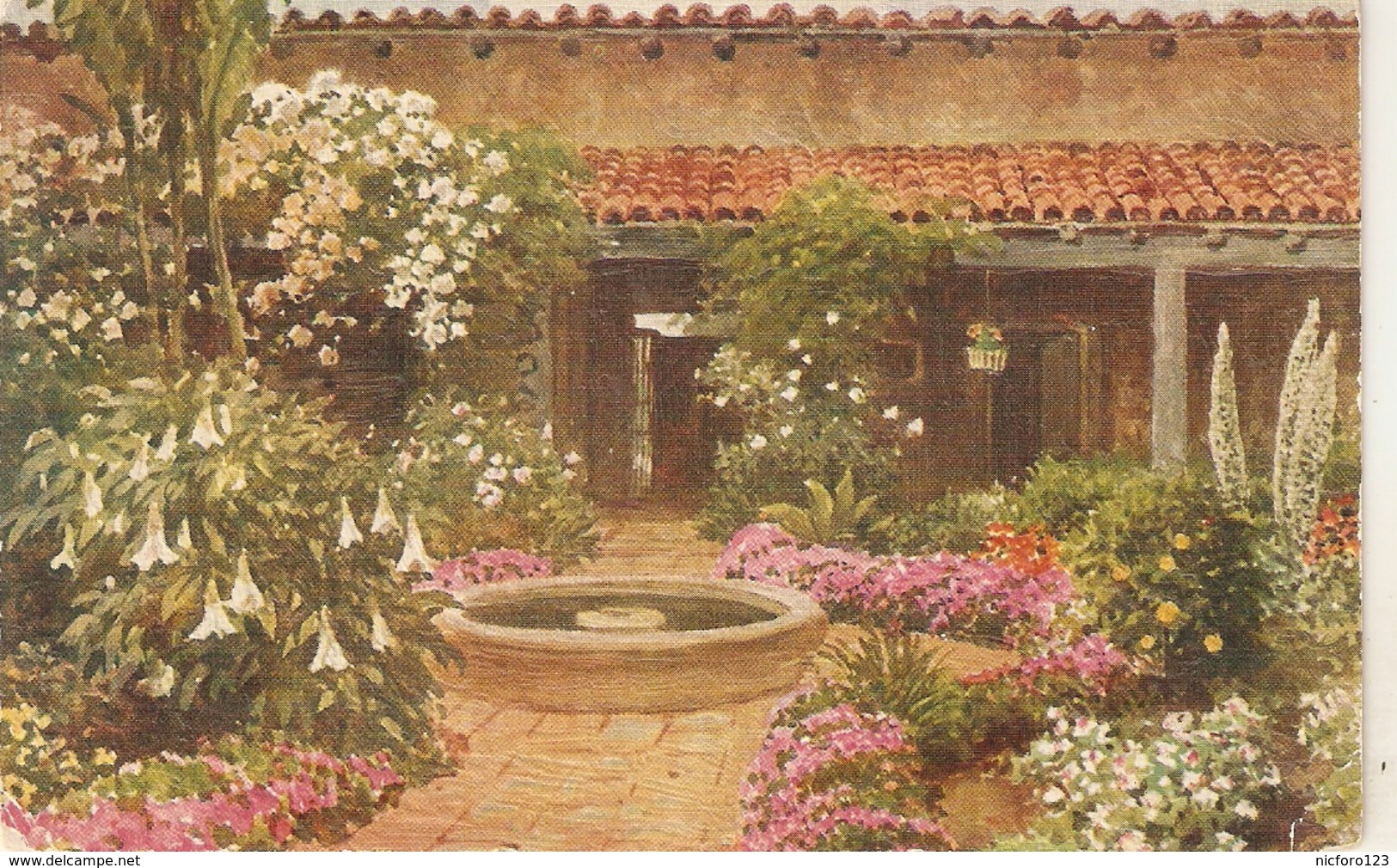 """Sutton Palmer. The Patio. California"" Tuck Oilette Glorious California Sr.PC # 3513 - Tuck, Raphael"