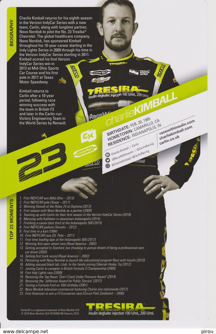 CHARLIE KIMBALL  INDYCAR  2018 - Automobile - F1